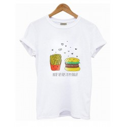 CAMISETA BLANCA FRIES VS BURGUER
