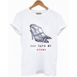 CAMISETA BLANCA GOD SAVE MY SHOES